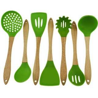 Utensils Kitchen Tool Cooking Turner Spatula Rame Laddle Filter Sieve Spoon Silicone Wood Wooden