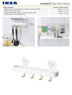 IKEA GLOMSTA Tray with 4 hooks and suction cup
