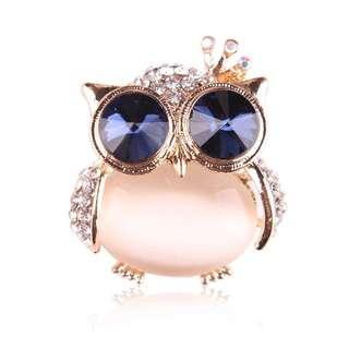 Owl Brooch in White