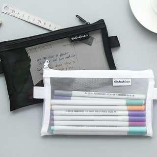 [instocks] transparent mesh pencil case