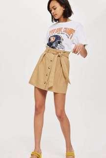 Topshop Linen Paperbag Skirt