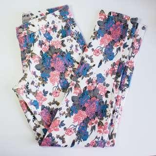 TYTE JEANSWEAR - Size 10 - White Floral Denim Jeans