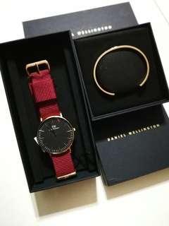 Daniel wellington 36mm Classic Black Roselyn & Rose Gold cuff