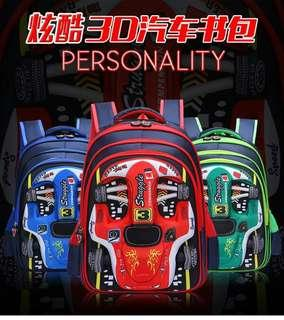 3D formula car primary school bag (42cm)