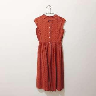 古著 復古雕花 無袖背心 洋裝 S 號 紅色 購於美國二手店 韓國製 氣質 約會穿搭 歡迎問實穿照