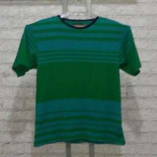 NAUTICA Green & Bluegreen Striped Crew Neck T Shirt
