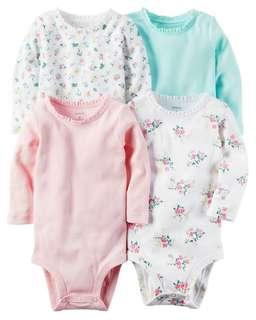 *12M Brand New Instock Carter's 4 Pc Long Sleeve Rompers Bodysuits Onesies Set Girls