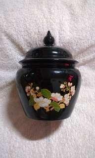 Vintage Authentic Avon Ceramic Black Lidded Ginger Jar