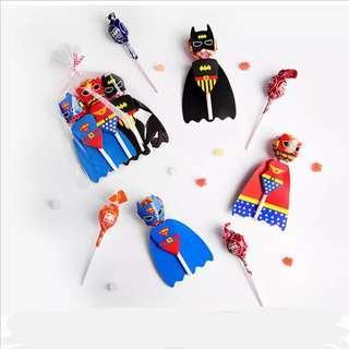 Superheroes party supplies - lollipop deco / party deco / candy bar deco / goodie bag gift