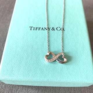 超值 Tiffany 18k diamond White gold Necklace 白金鑽石心形頸鏈