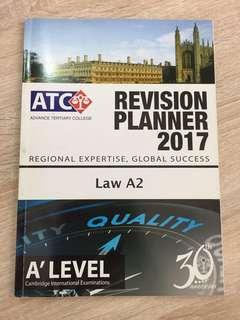 FREE A levels A2 Law revision planner
