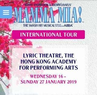 出售周六晚395元門票 MAMMA MIA 香港演藝學院 歌劇院 2019年1月19日周六 GALLERY Row L 正中四連位 公售共六場周五六日395票已賣剩單張 $395+$15 hkticketing手續費 雙數出售,非原價