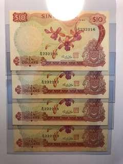 4 pcs of Singapore Orchid $10 HSS w/seal running number Original UNC