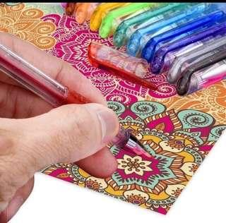 PO Brand New 12 12pcs Glitter Gel Pens Set For Colouring Drawing ✍️ Doodling Sketching Art