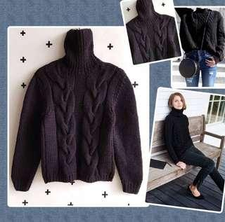 Black Cable Knit High Collar Sweater