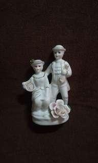 Vintage Porcelain Couple Holding Music Instrument Figurine