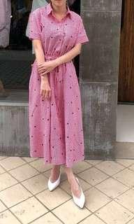 韓~高質感刺繡星星洋裝。紅色