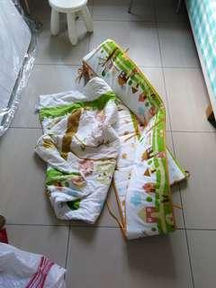 Baby cot bumper and comforter