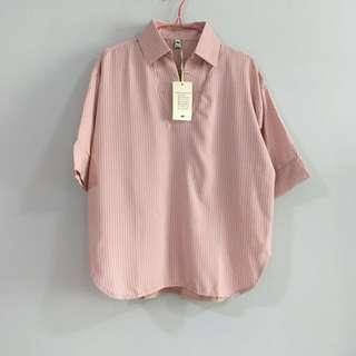 🚚 BNWT From Korea - Striped Collared Blouse in Peach Pink