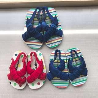 全新日本帶回木屐涼鞋 緞面織帶鬆緊帶 藍15cm