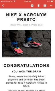 Nike x Acronym Air Presto Racer Pink