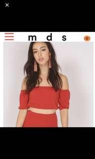 MDS Ribbed Off shoulder Crop Top
