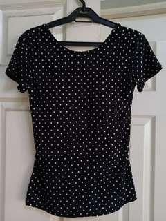 Black polka dots low back blouse with built-in bra