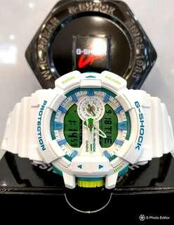 * FREE DELIVERY * Brand New 100% Authentic Casio GShock Matt White & Turquoise Green Trims Mens Casual Watch GA-400WG-7ADR GA400WG