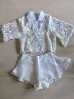 Brand New White Lace Top & Shorts Set (Like Mini Skirt)