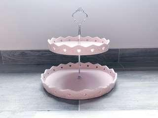 Dessert Table Rental Props - Pretty Pink 2 tier Ceramic Cake Stand
