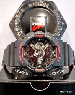 * FREE DELIVERY * Brand New 100% Authentic Casio GShock Black & Red Combination Mens Casual Watch GA-110HR-1ADR GA110HR