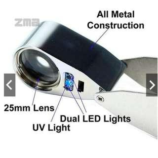 Dual Light (UV & LED) 40x Magnifying Lens / Magnifier
