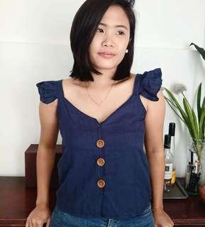 Ruffled Strap Button Top