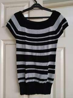 Shapes black-grey stripes knitted top