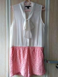 Forever21 Floral Lace Pink And CreamWhite Top Dress