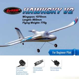 With Detrum Gavin 2.4GHz 6CH Remote Control [Suitable for Beginner] [Mode 1 - throttle right] DYNAM Hawksky V2 1370mm RC Airplane, Stabilized Gyro, Smart Ready-to-Fly, SRTF. Code: DY8925-SRTF