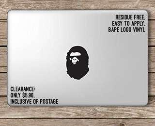 🚚 Bape macbook logo sticker vinyl