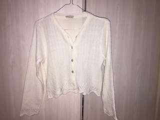 VINTAGE CARDIGAN BROKEN WHITE CROPTOP