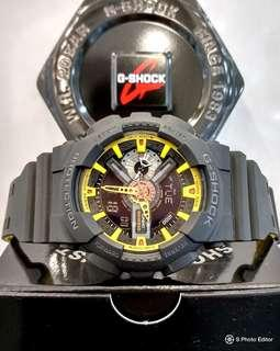 * FREE DELIVERY * Brand New 100% Authentic Casio GShock Matt Black & SunShine Yellow Mens Casual Watch GA-110BY-1ADR GA110BY