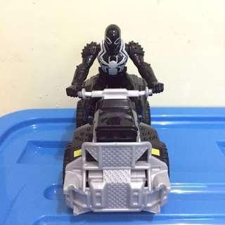 Hasbro Action Figure Black Spiderman with Motorcycle (4 Wheels)