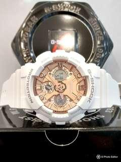 * FREE DELIVERY * Brand New 100% Authentic Casio GShock Mini S Series Matt White & Rose Gold Polish Dial Lady's Mid Size G-Shock Watch GMA-S120MF-7A2DR GMAS120MF