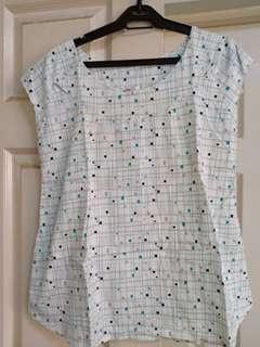 Joy white printed cotton blouse