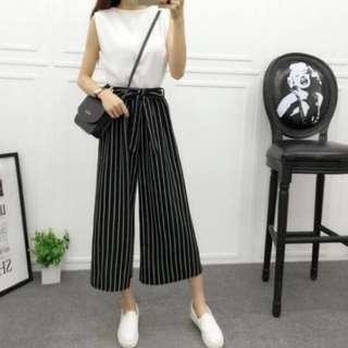 🆕 Black Stripe Ribbon Tie Culottes #MidSep50 #3x100