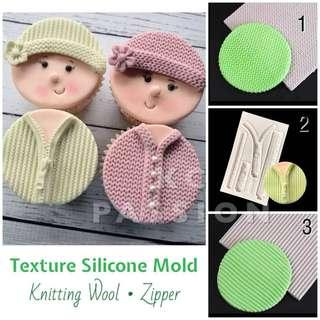 🎂 WOOL • ZIPPER • KNITTED TEXTURE SILICONE MOLD
