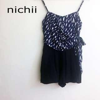 Nichii Blue Black Ribbon Crossover Romper/ Jumpsuit #MidSep50 #3x100