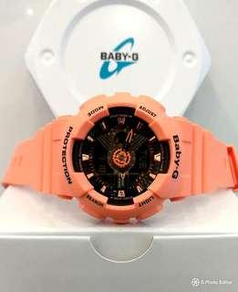 * FREE DELIVERY * Brand New 100% Authentic Casio BabyG Peach Orange & Black Dial Lady's Casual Watch BA-111-4A2 BA111
