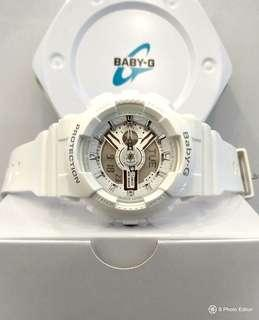 * FREE DELIVERY * Brand New 100% Authentic Casio BabyG Gloss White Lady's Casual Watch BA-110-7A3DR BA110