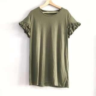 🚚 BN Cotton On Ruffles Shift Dress in Olive Green