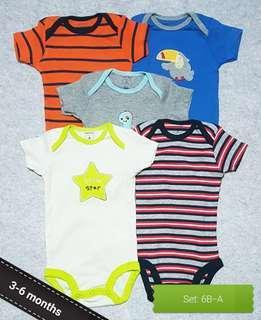 🚚 [3-6M] 5pc Set Baby Boy Bodysuit / Romper / Onesie