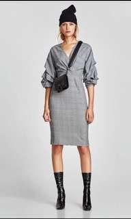 Zara checked puff sleeves midi dress